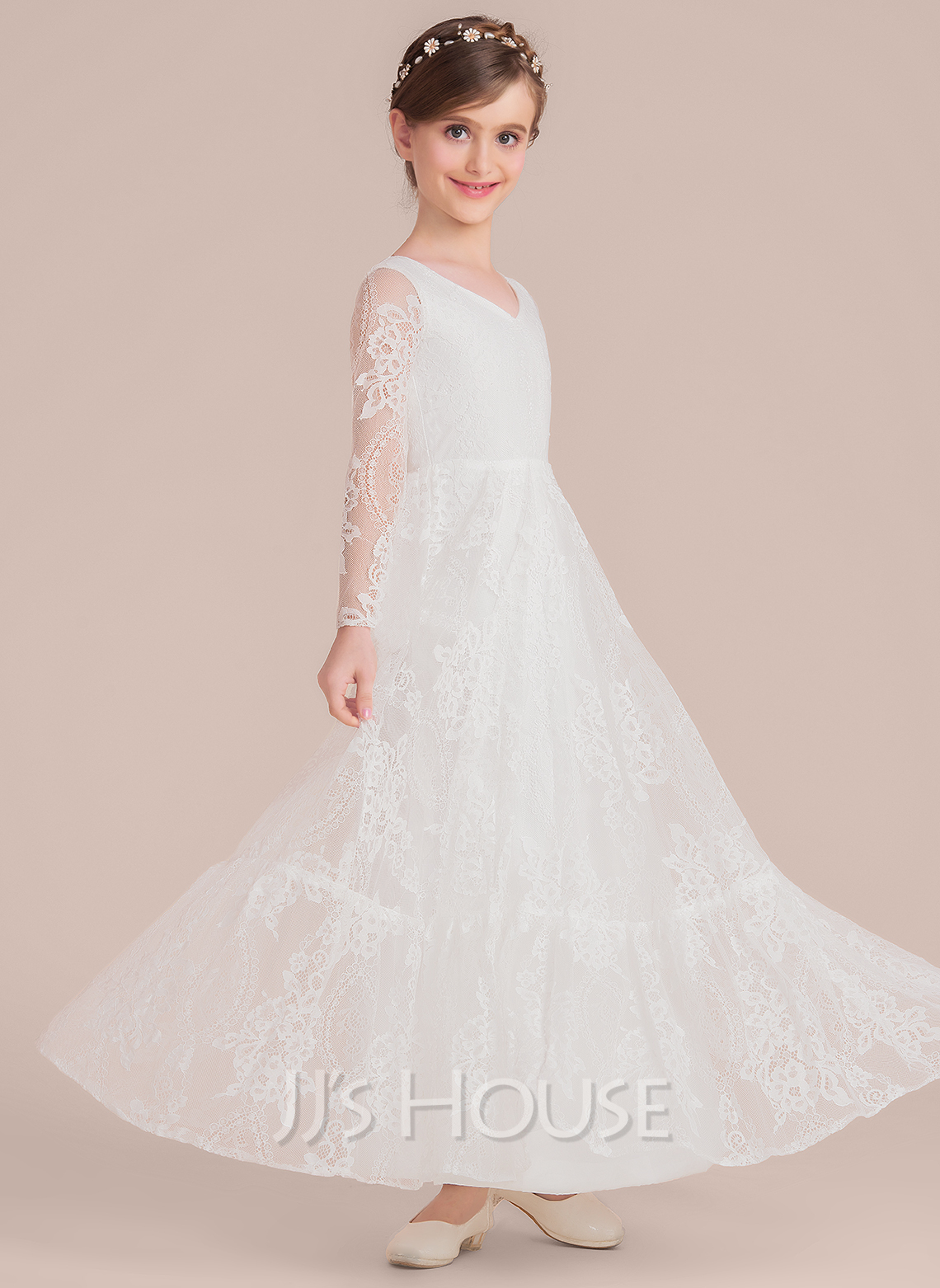 A-Line Floor-length Flower Girl Dress - Chiffon/Lace Long Sleeves V-neck/Scoop Neck