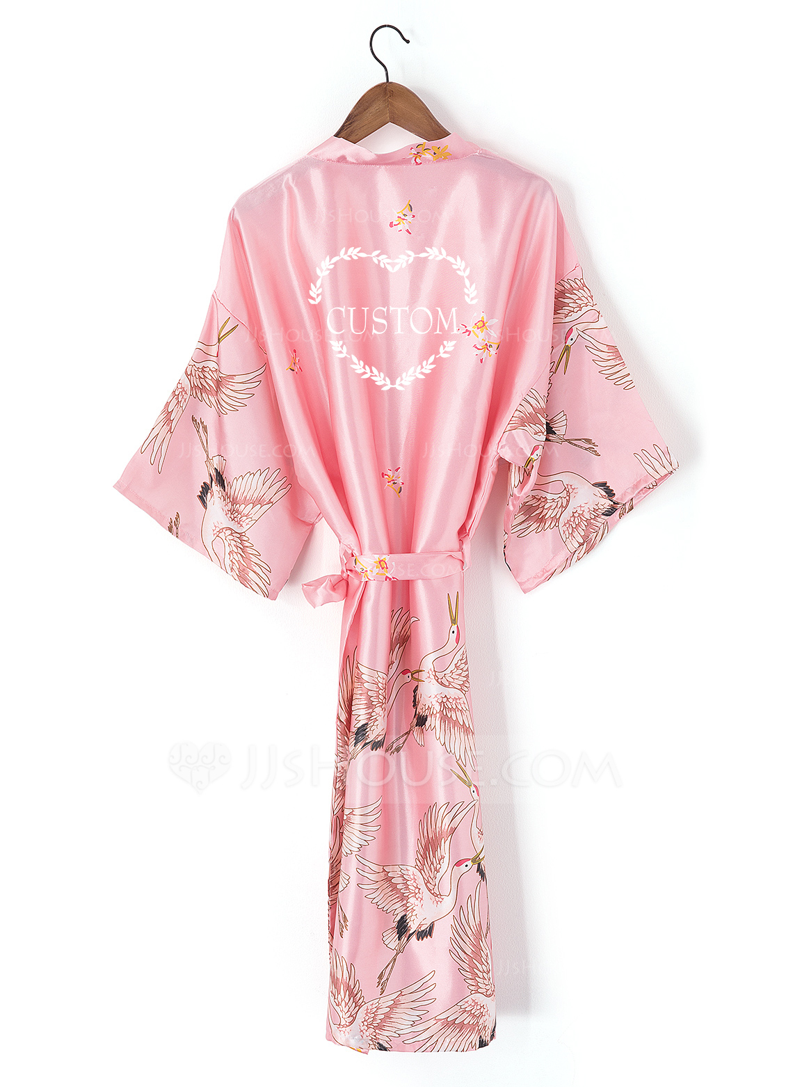Silk Navy//Pink Robe Personalized Wedding Bridesmaid Bride Mother Dressing Gown