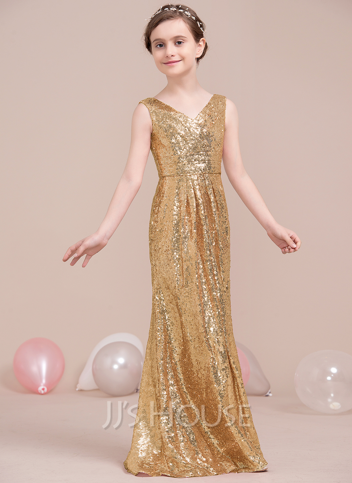A-Line/Princess V-neck Floor-Length Sequined