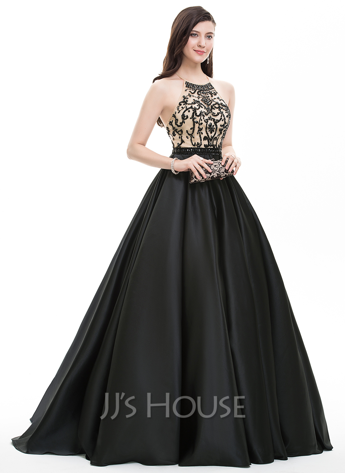 Ball-Gown Scoop Neck Sweep Train Satin Prom Dresses With Beading ...