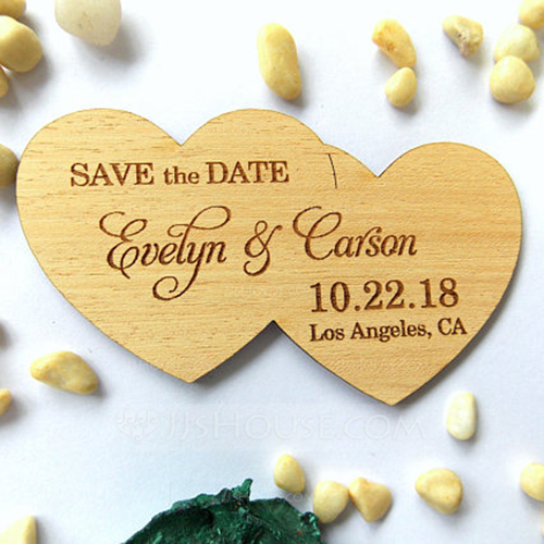 Personalized Double Hearts Wooden Save-the-date Magnets (Set of 10)