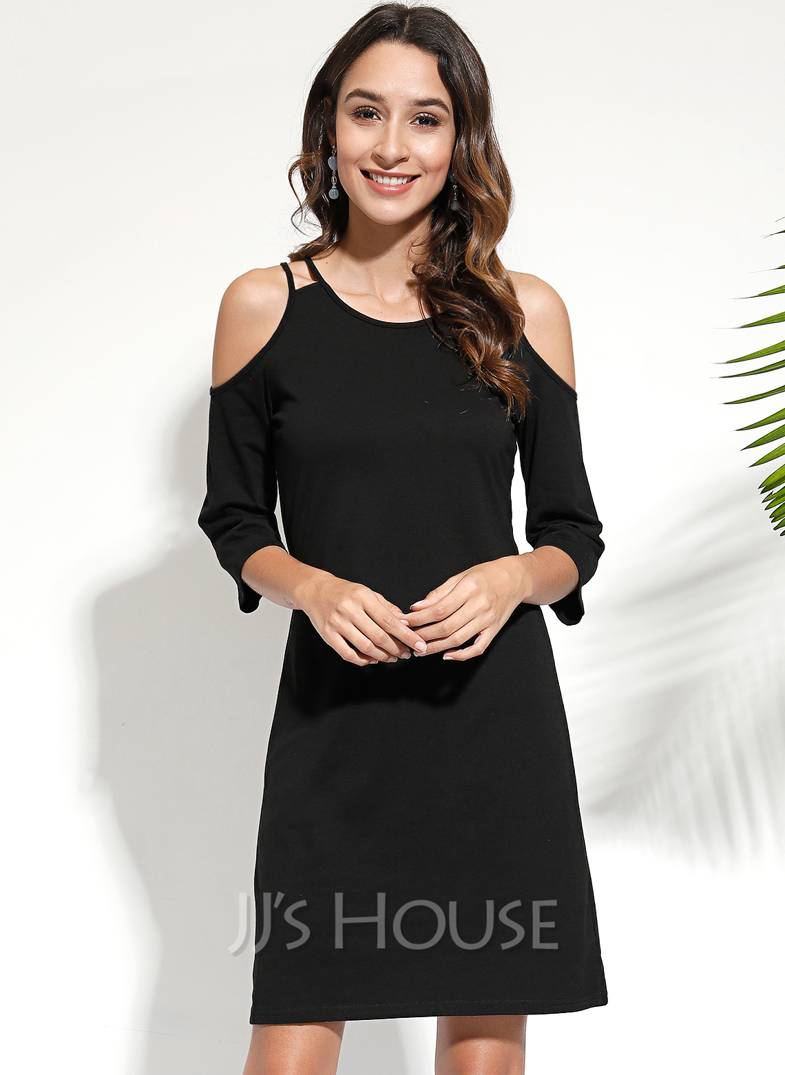 Round Neck Cold Shoulder Sleeve Midi Dresses