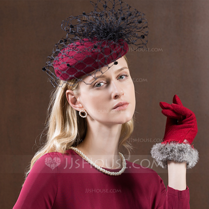 8ea0551a8b000 Ladies  Gorgeous Fashion Glamourous Wool With Tulle Beret Hats Tea Party  Hats. Loading zoom