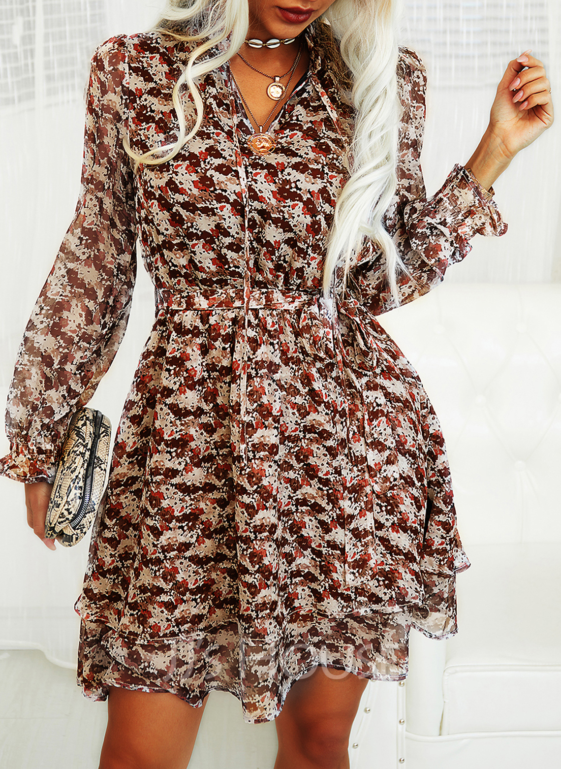 Floral Print A-line V-Neck Long Sleeves Puff Sleeves Midi Casual Skater Dresses