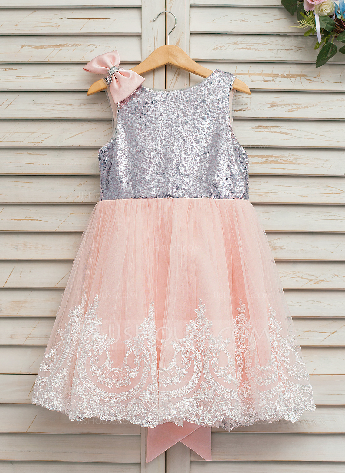 c837164302e67 A-Line/Princess Knee-length Flower Girl Dress - Tulle/Lace/. Loading zoom