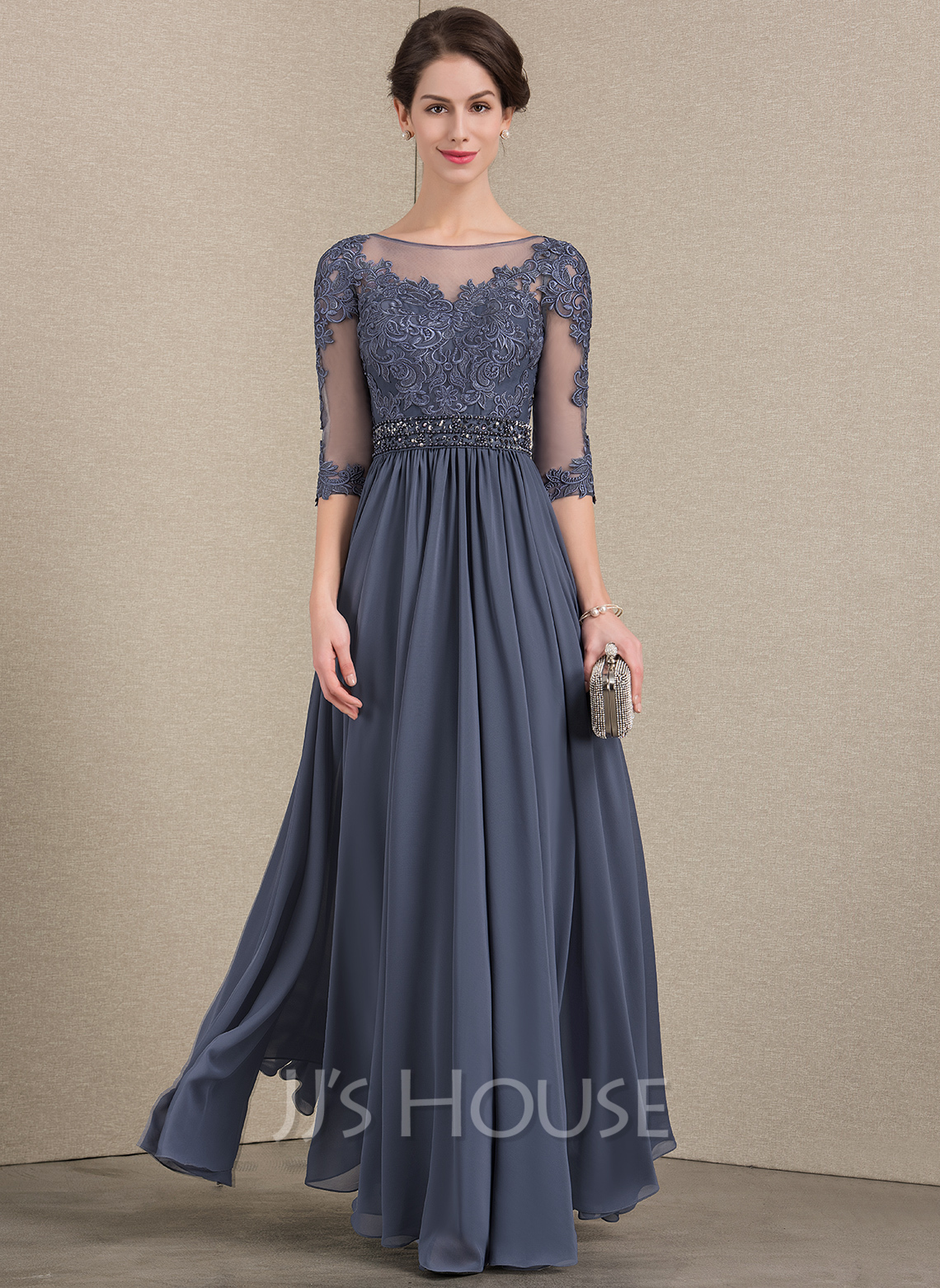 7f7af94fe4 A-Line/Princess Scoop Neck Floor-Length Chiffon Lace Mother of the Bride. Loading  zoom