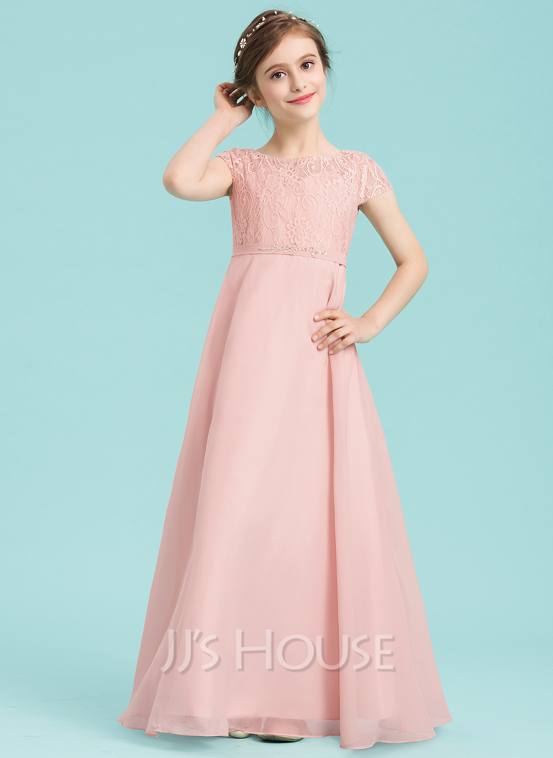 Scoop Neck Floor-Length Chiffon Junior Bridesmaid Dress With Beading