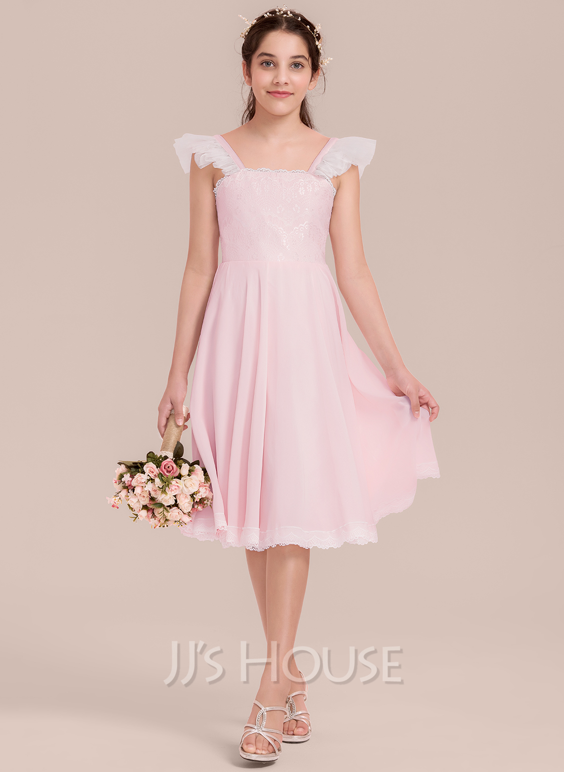43a6970ebb0 A-Line Princess Square Neckline Knee-Length Chiffon Junior Bridesmaid Dress  With Ruffle. Loading zoom