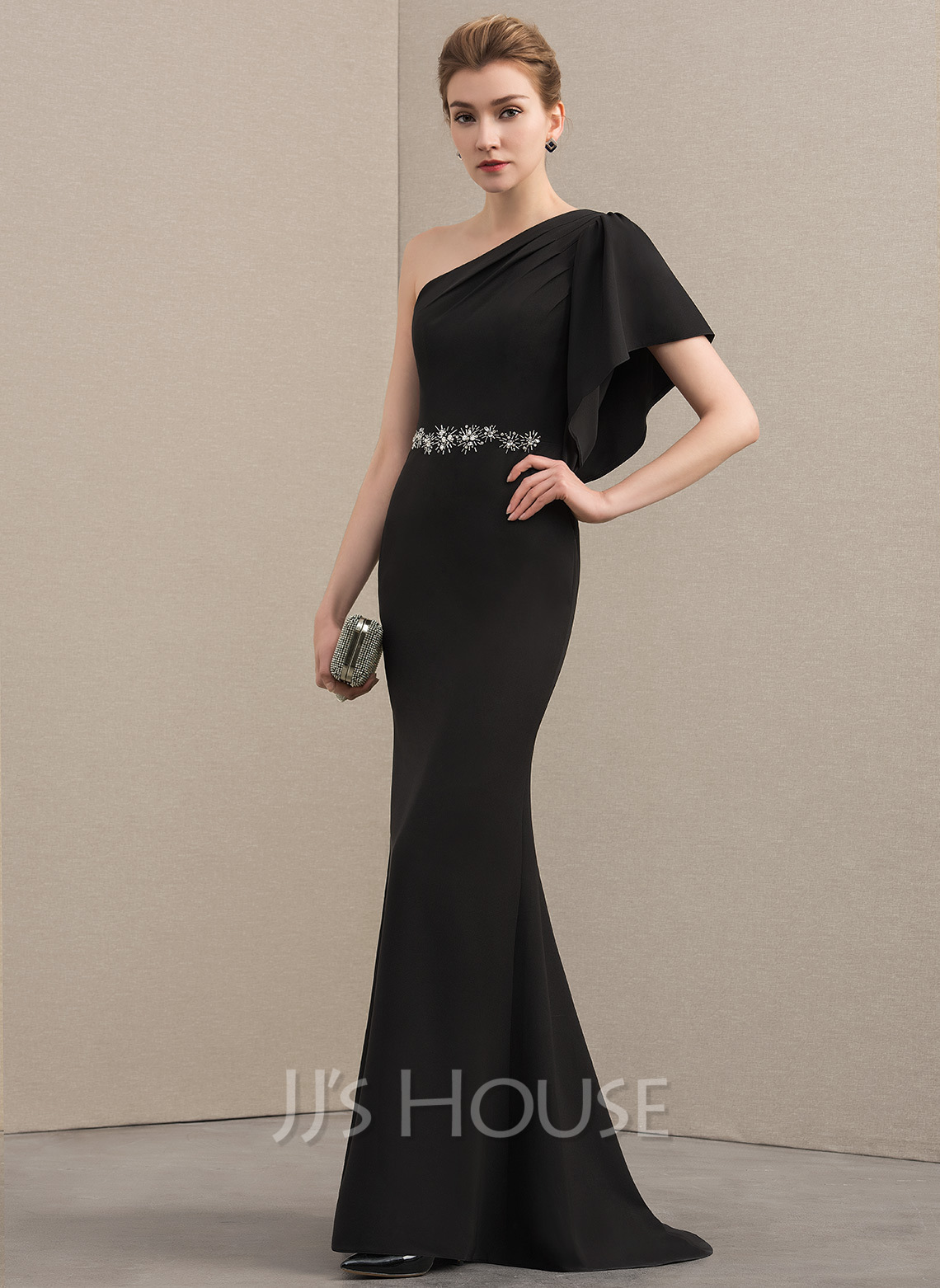Trumpet/Mermaid One-Shoulder Sweep Train Stretch Crepe Mother of the Bride Dress With Beading Cascading Ruffles