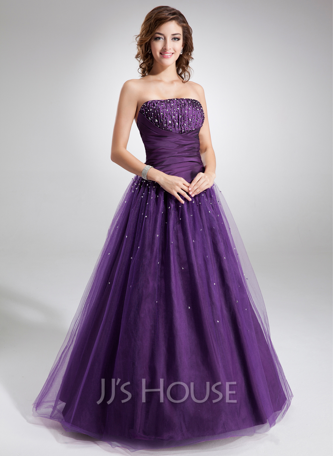 Ball Gown Strapless Floor Length Tulle Quinceanera Dress