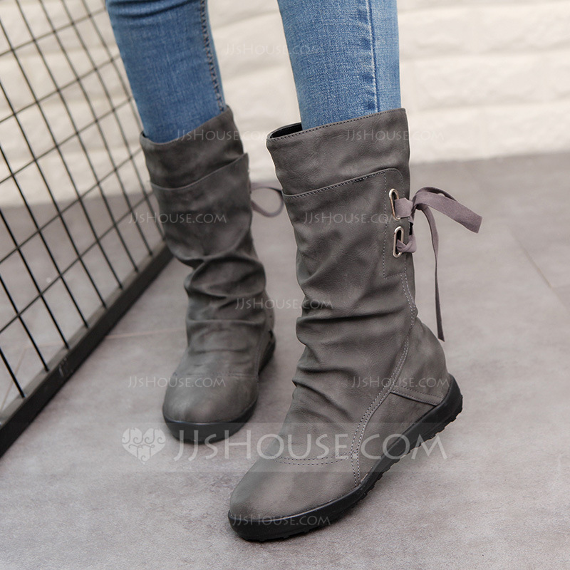 64c884bc8c4 Women's Leatherette Flat Heel Closed Toe Boots Mid-Calf Boots Martin Boots  Riding Boots With Buckle Lace-up shoes (088185172)