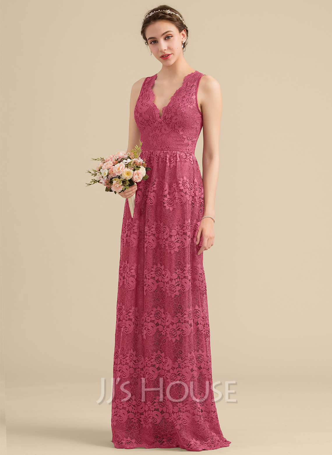 V-neck Floor-Length Lace Bridesmaid Dress