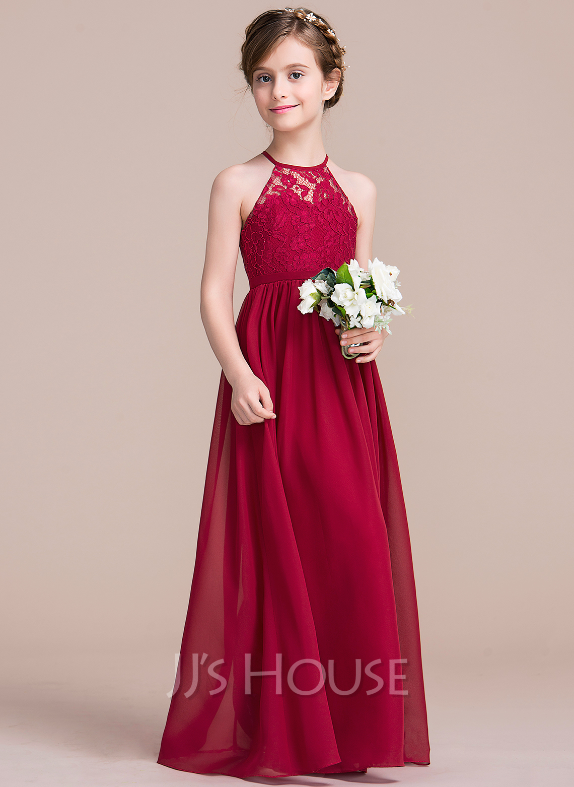 a line princess floor length flower girl dress chiffon lace