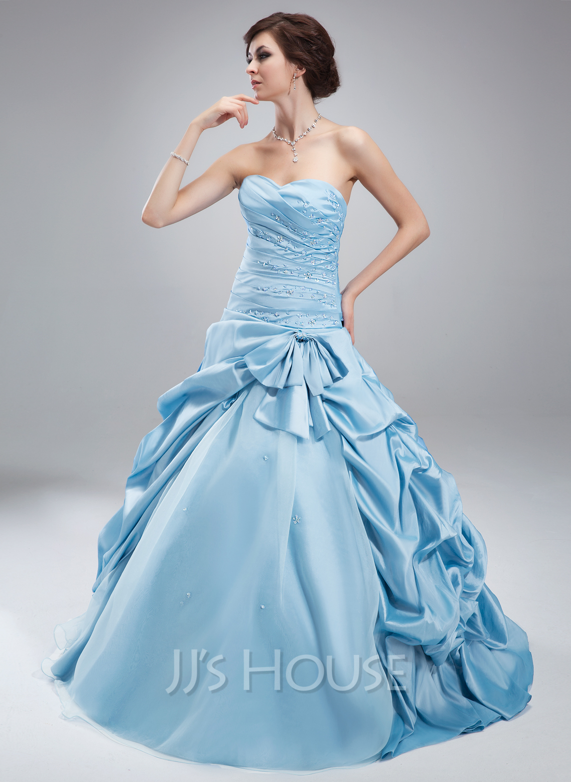 Ball-Gown Sweetheart Floor-Length Taffeta Tulle Quinceanera Dress With Ruffle Beading