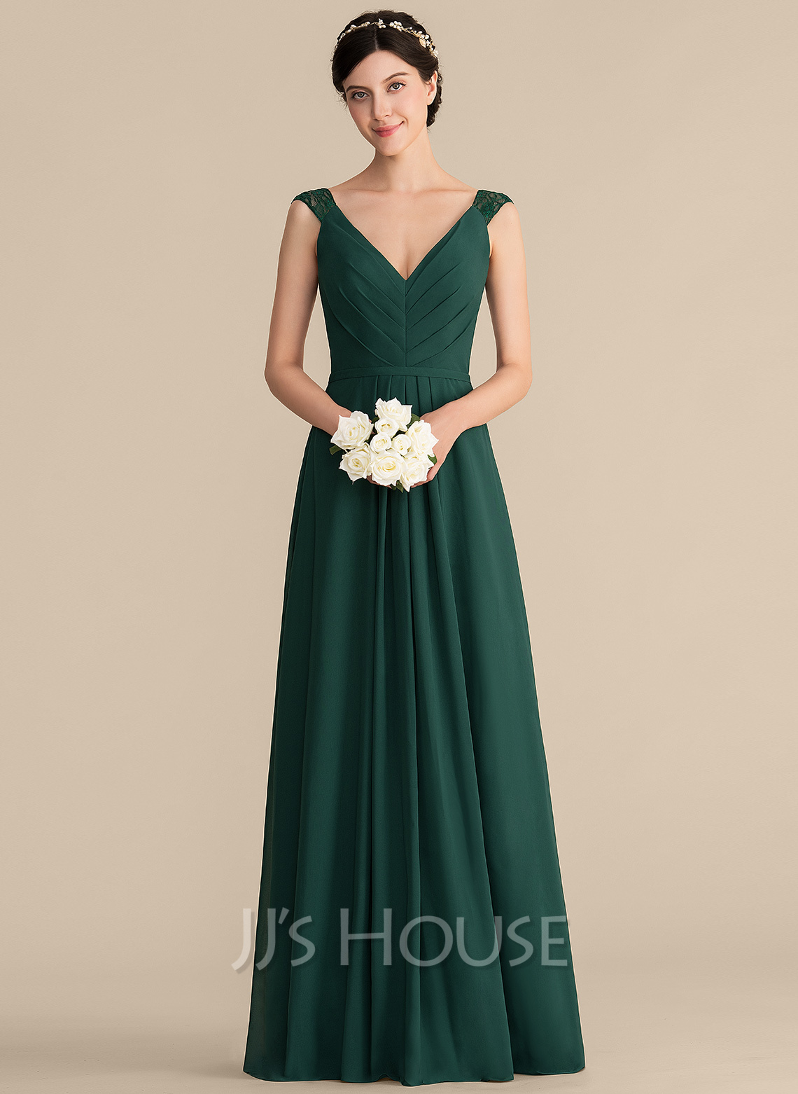 b7991169ed A-Line/Princess V-neck Floor-Length Chiffon Lace Bridesmaid Dress With.  Loading zoom