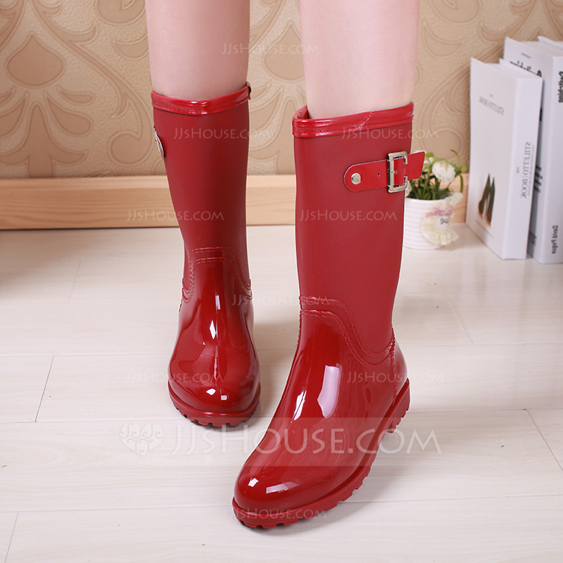 6adef42ce7f  US  20.00  Women s PVC Low Heel Boots Knee High Boots Rain Boots With  Rivet Buckle shoes - JJ s House