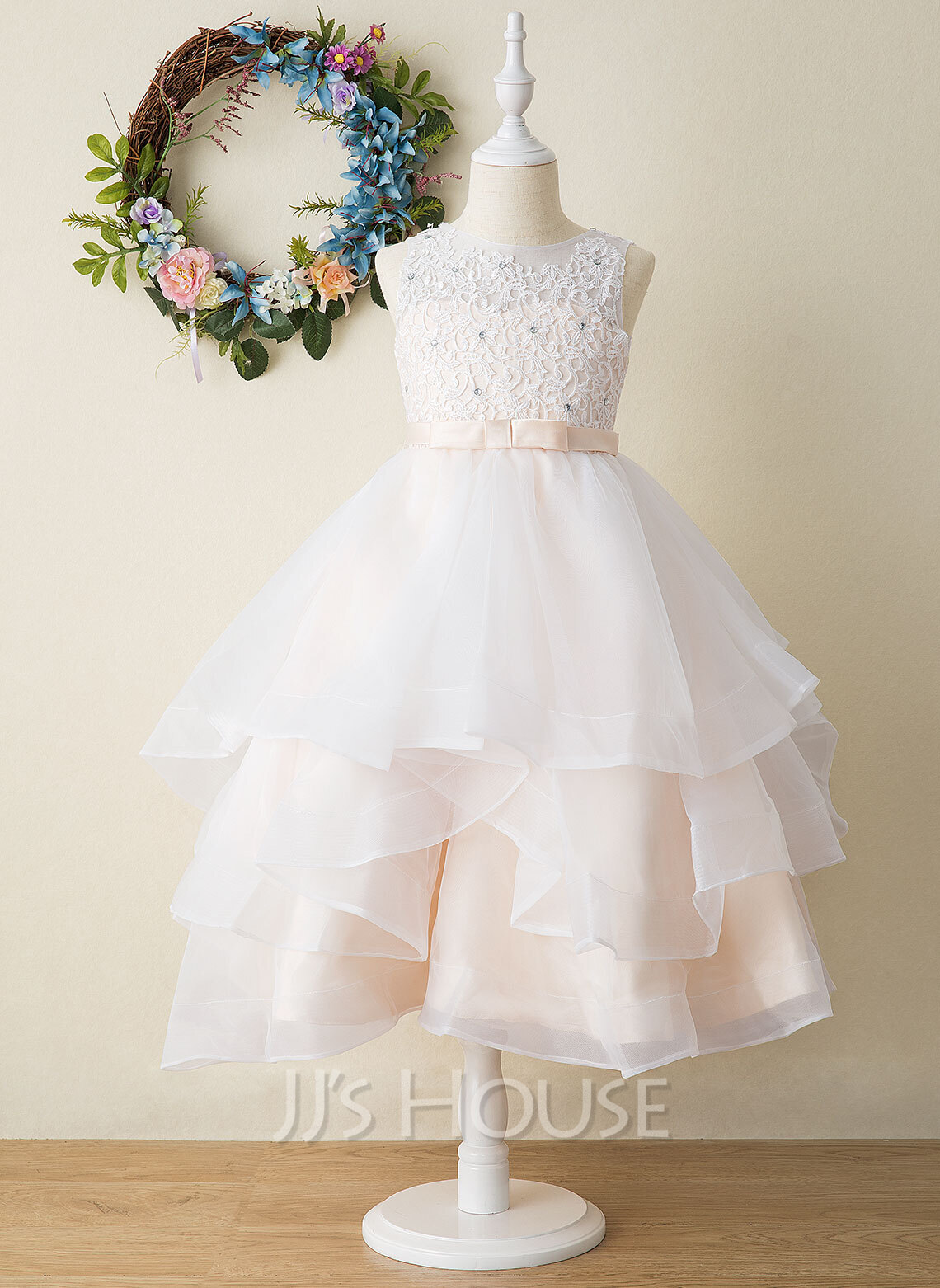Ball-Gown/Princess Tea-length Flower Girl Dress - Tulle/Lace Sleeveless Scoop Neck