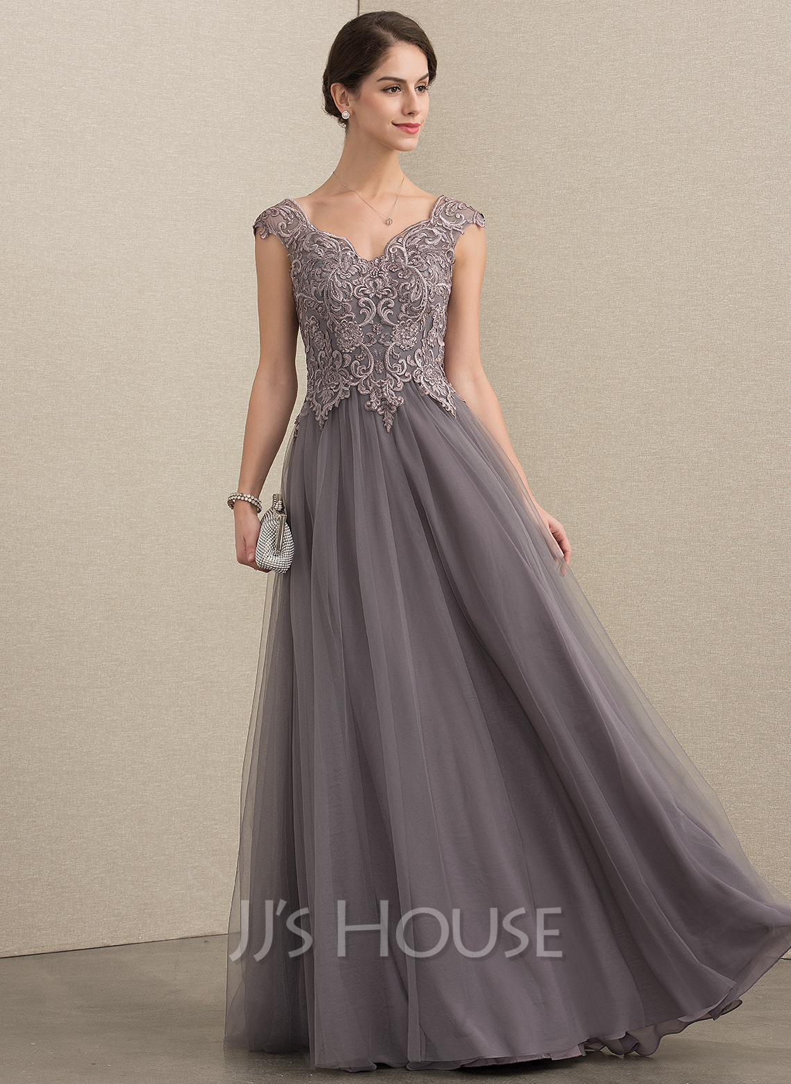 V-neck Floor-Length Tulle Lace Mother of the Bride Dress With Sequins