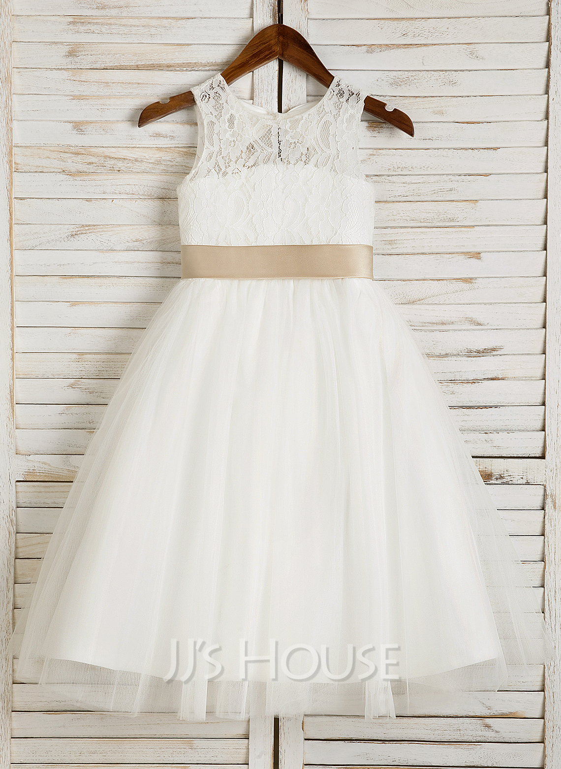3850e05bcd15 A-Line/Princess Tea-length Flower Girl Dress - Tulle/Lace Sleeveless.  Loading zoom