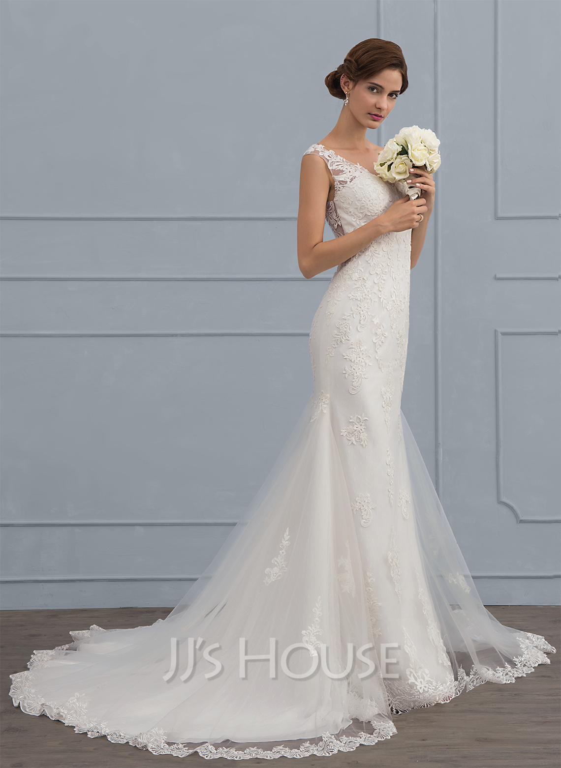 Trumpet mermaid v neck court train tulle wedding dress for Mermaid wedding dress with train