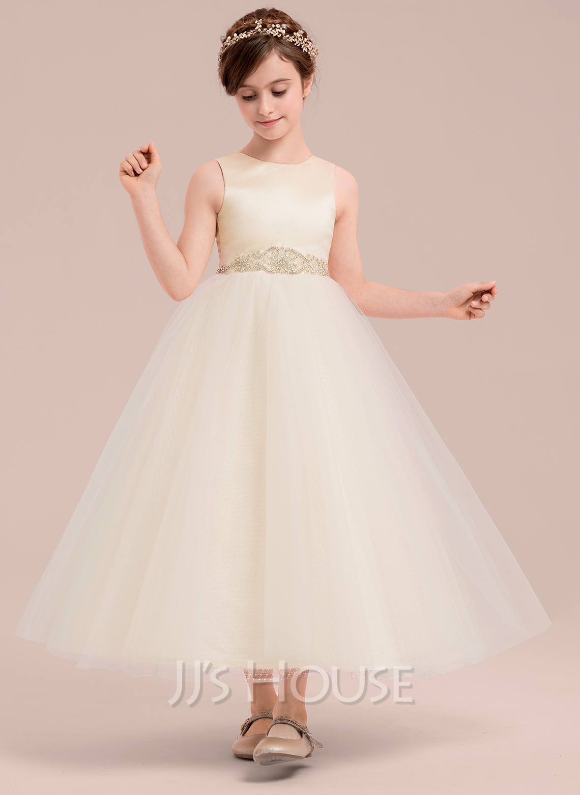 A-Line Ankle-length Flower Girl Dress - Satin/Tulle Sleeveless Scoop Neck With Beading