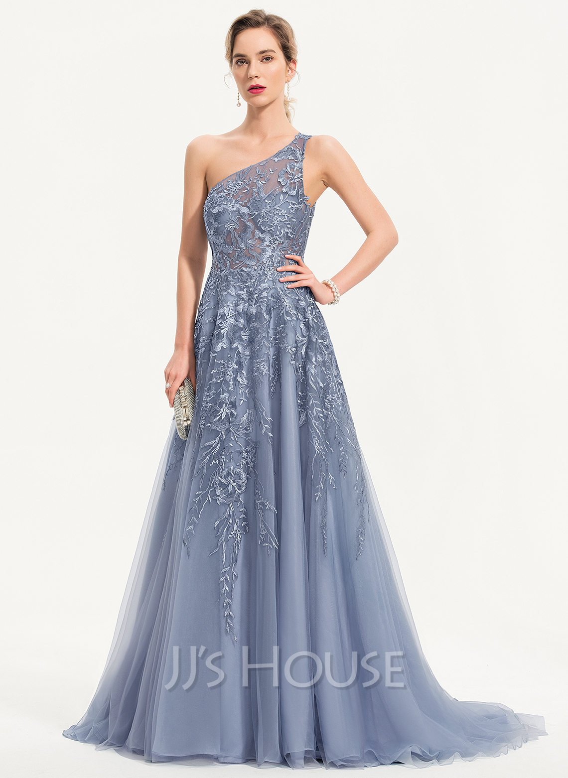 A-Line One-Shoulder Sweep Train Tulle Prom Dresses