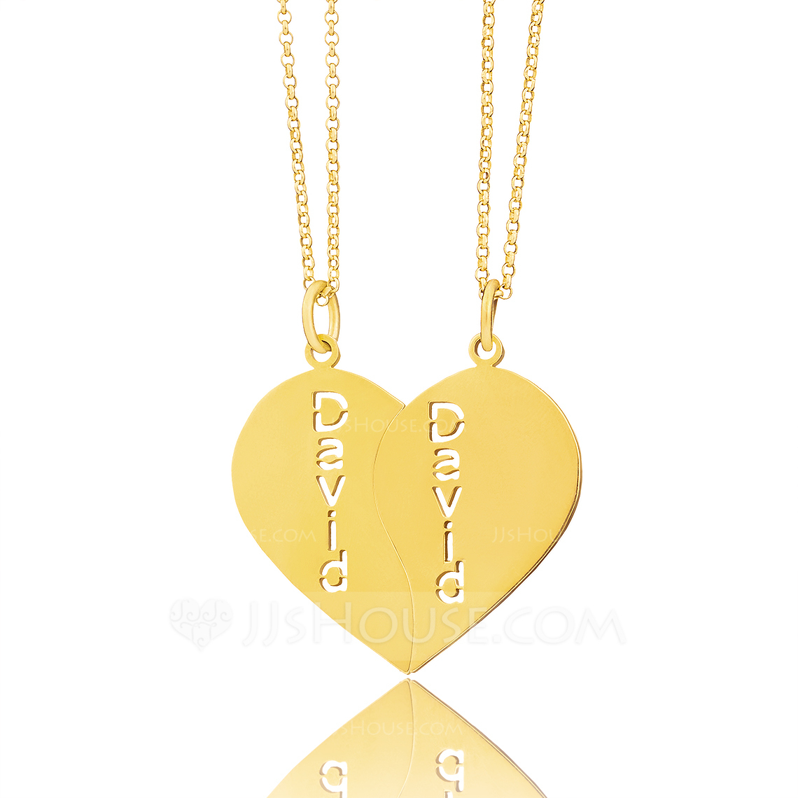 Custom 18k Gold Plated Silver Heart Couple Two Name Necklace (Set of 2) - Birthday Gifts Mother's Day Gifts