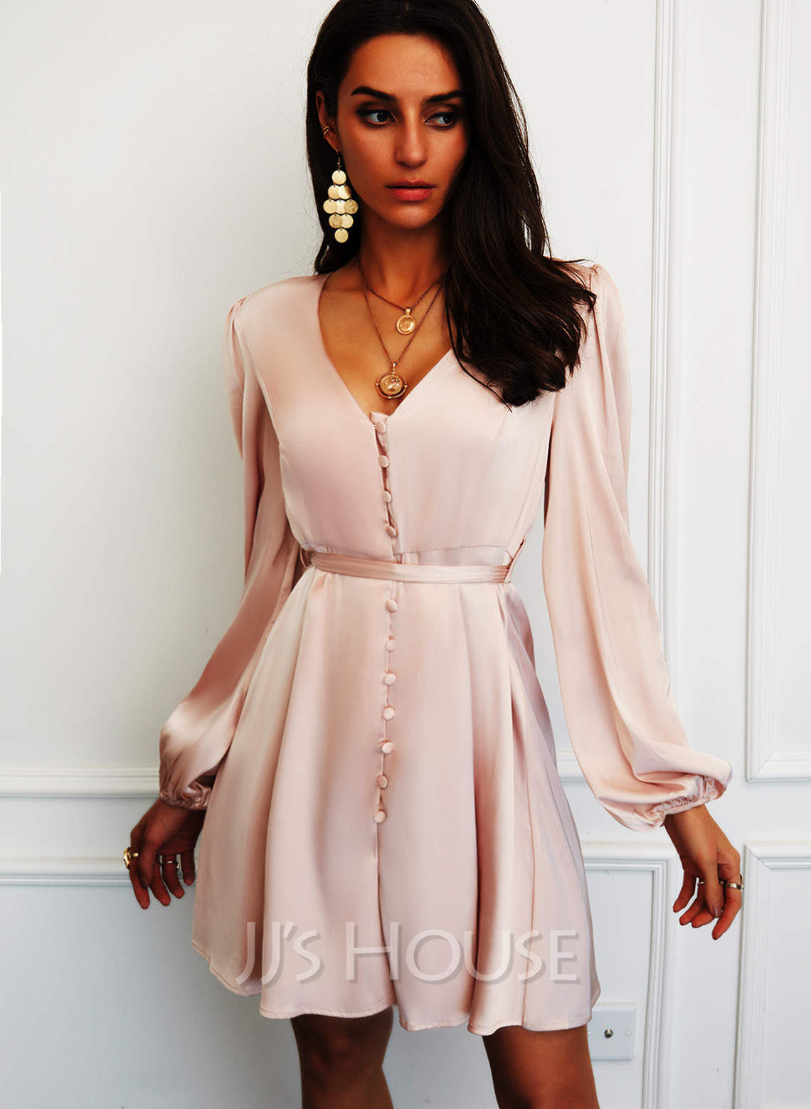 Solid A-line V-Neck Long Sleeves Puff Sleeves Midi Elegant Party Skater Dresses