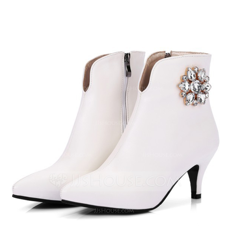 Women's Leatherette Low Heel Boots Closed Toe With Crystal