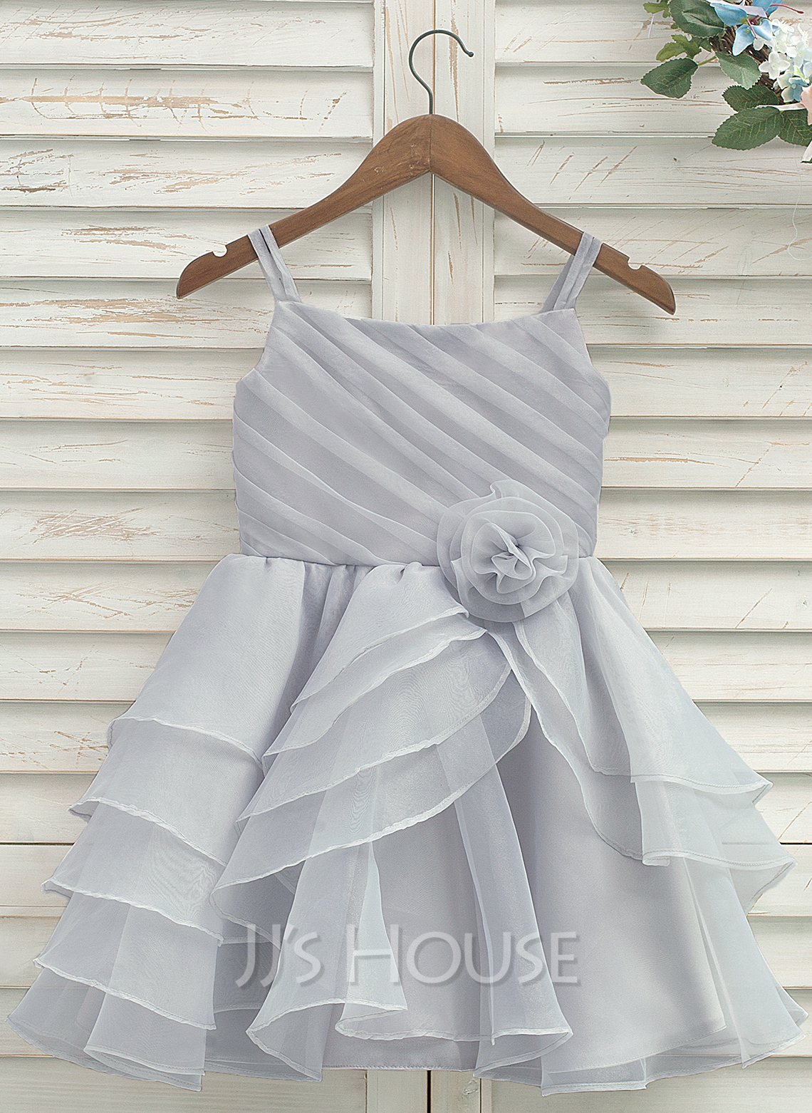 A-Line/Princess Knee-length Flower Girl Dress - Organza/Satin Sleeveless Straps With Pleated