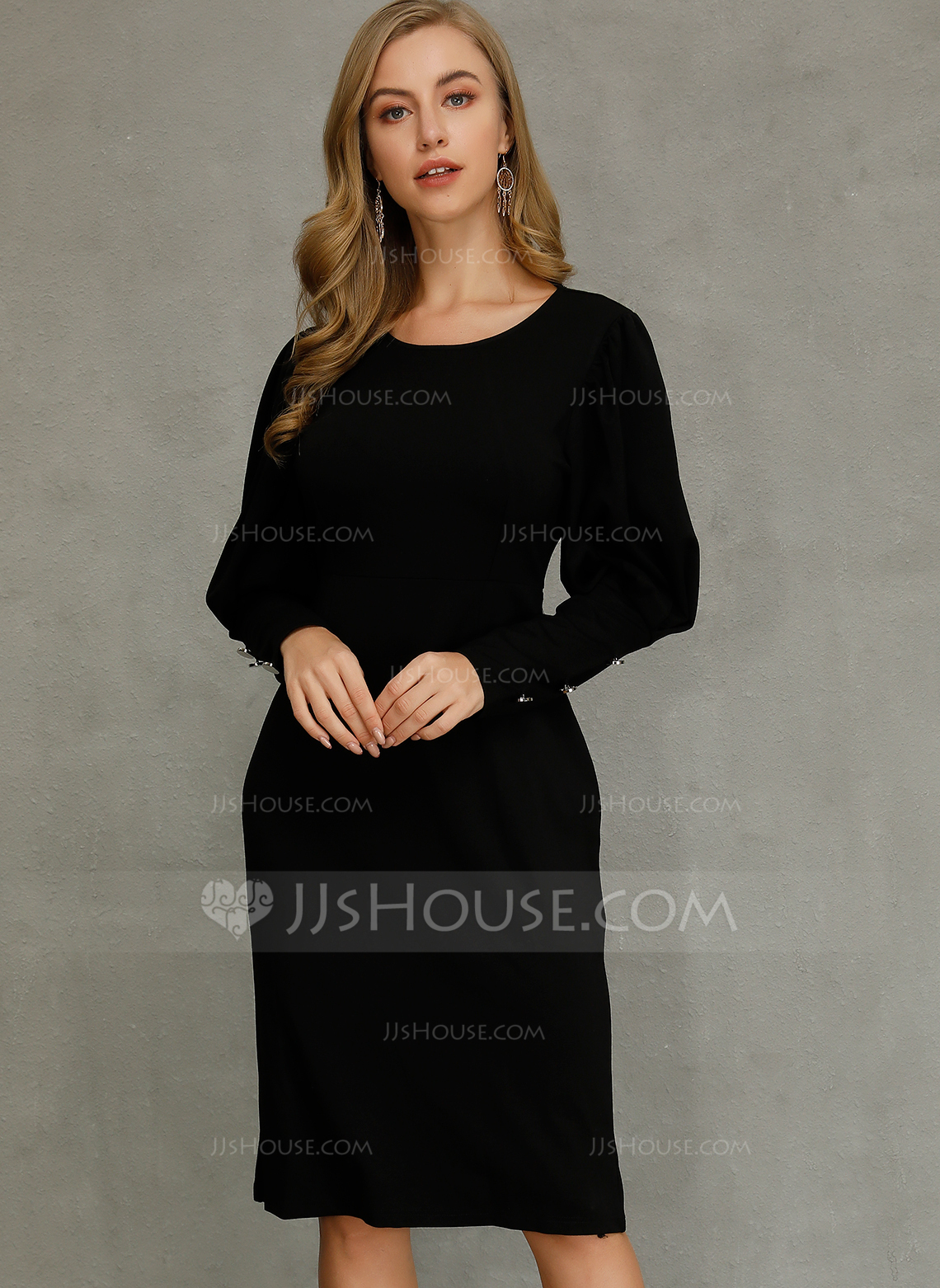 Polyester With Button/Solid/Slit Midi Dress