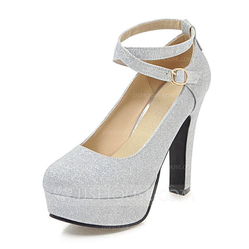 0fa92344f19 Women s PU Chunky Heel Pumps Platform With Sequin shoes (085186407 ...