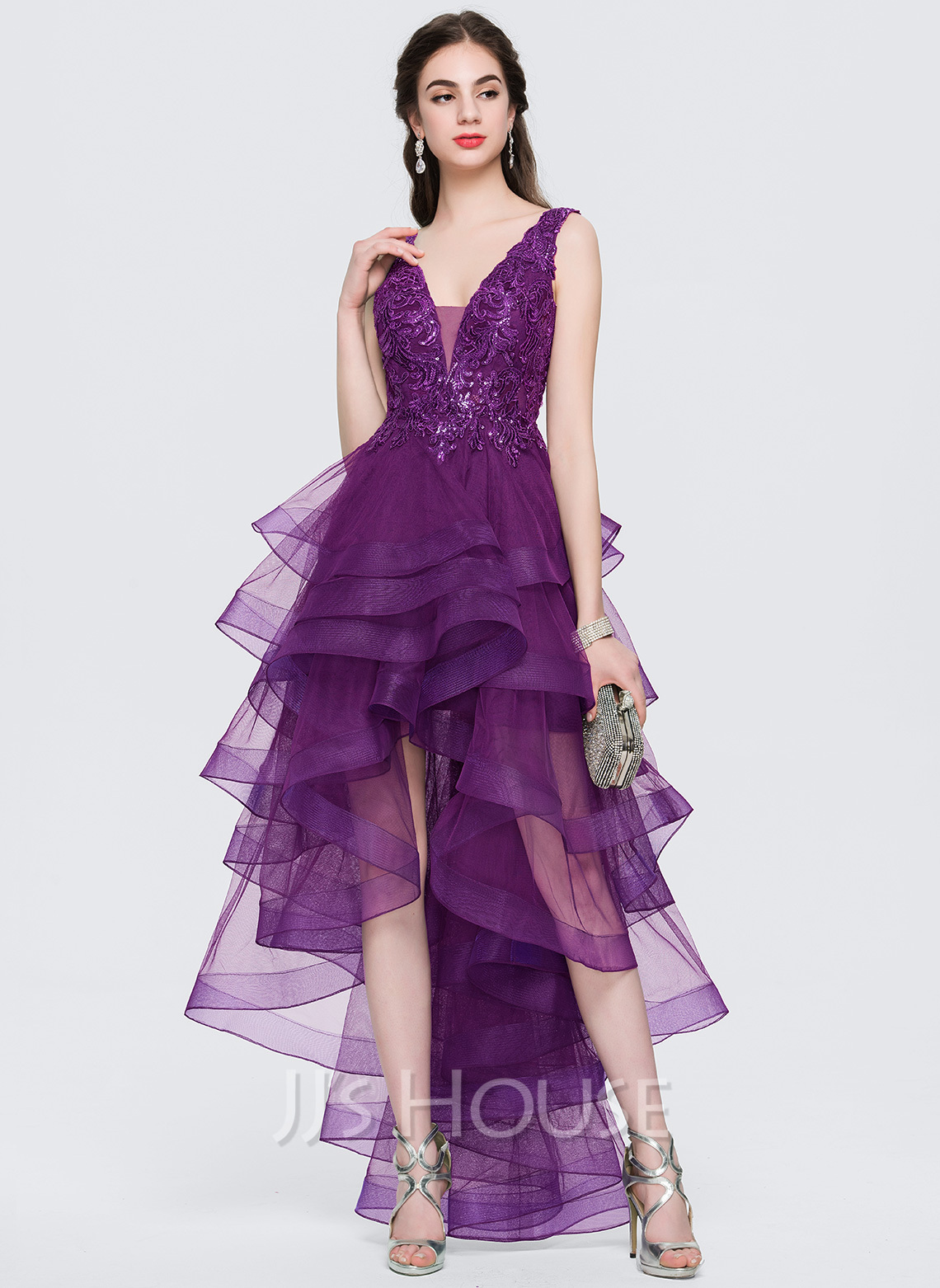 A-Line V-neck Asymmetrical Tulle Prom Dresses With Lace Sequins