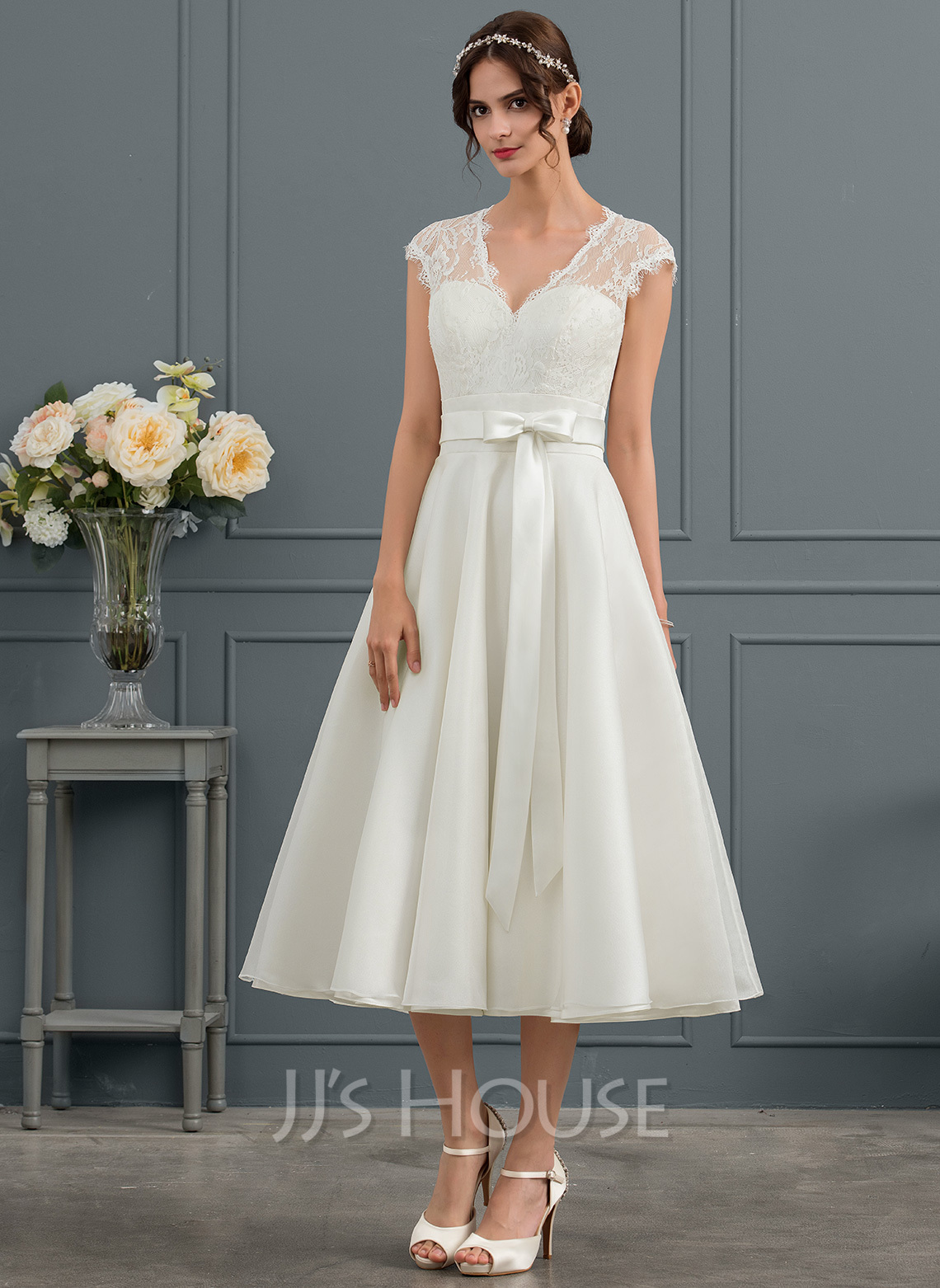V-neck Tea-Length Satin Wedding Dress With Bow(s)