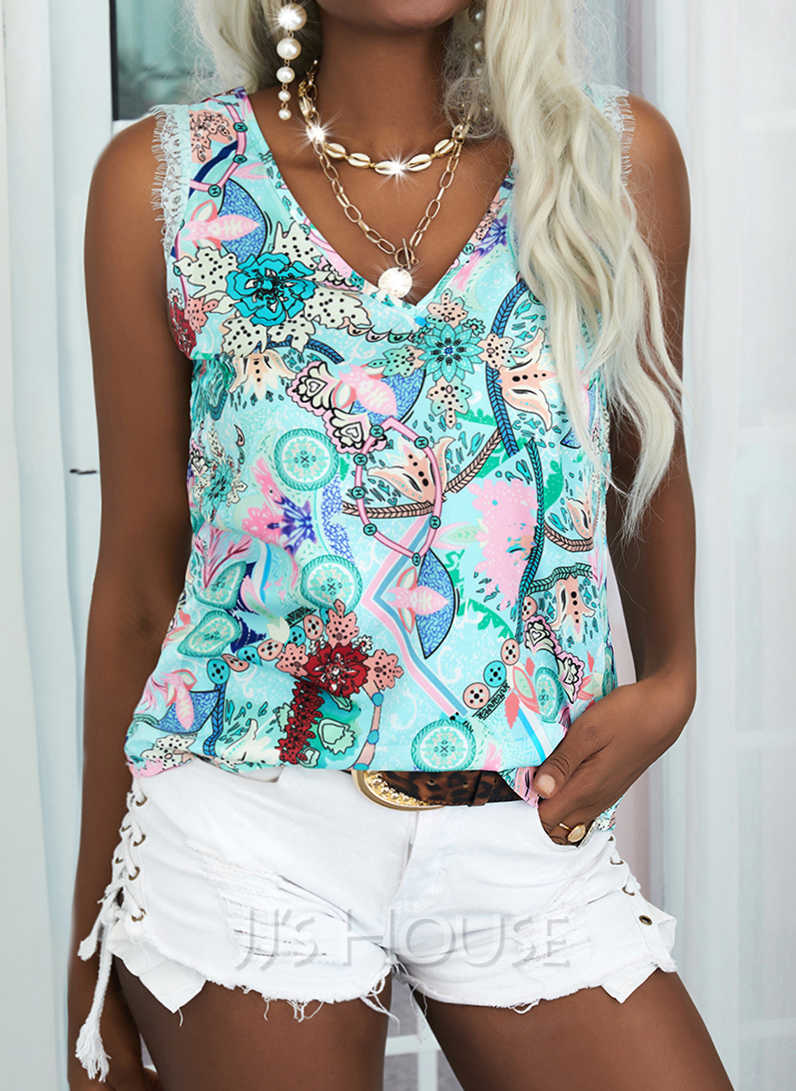 Regular Fitted Lace Print Casual Sleeveless