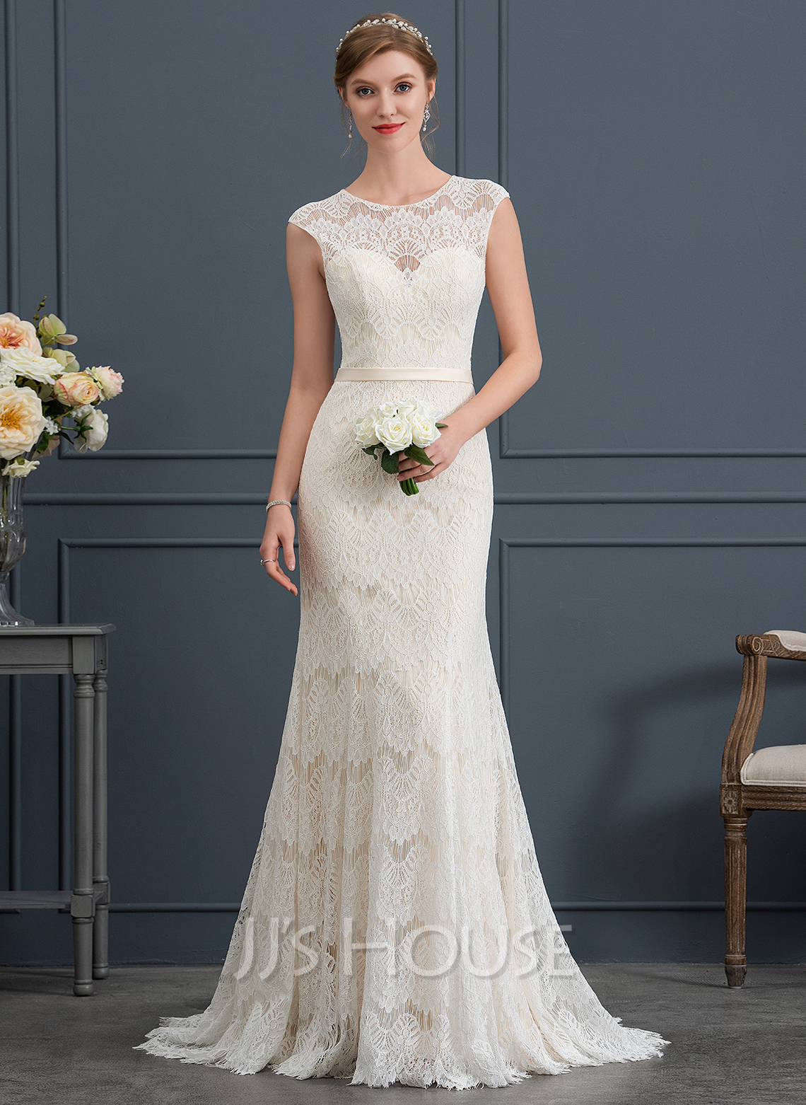 dd666b8cfdcce Trumpet/Mermaid Scoop Neck Sweep Train Lace Wedding Dress (002171940 ...