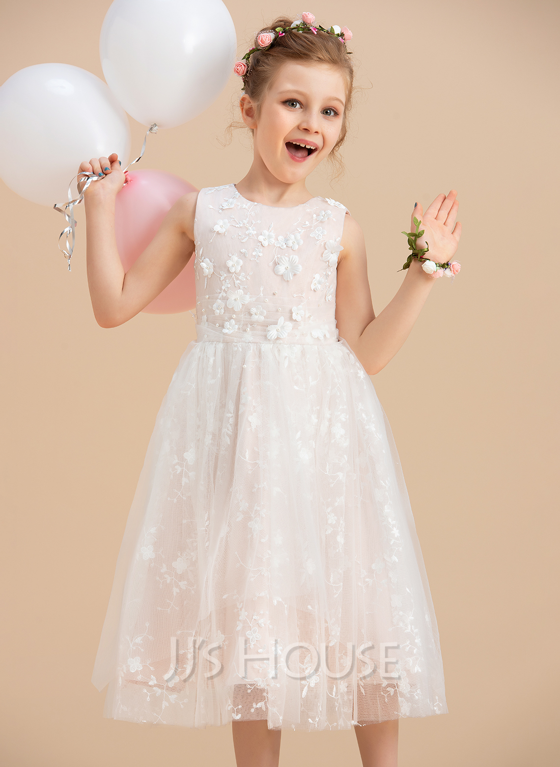 Tea-length Flower Girl Dress - Tulle Lace Sleeveless Scoop Neck With Beading Flower(s)