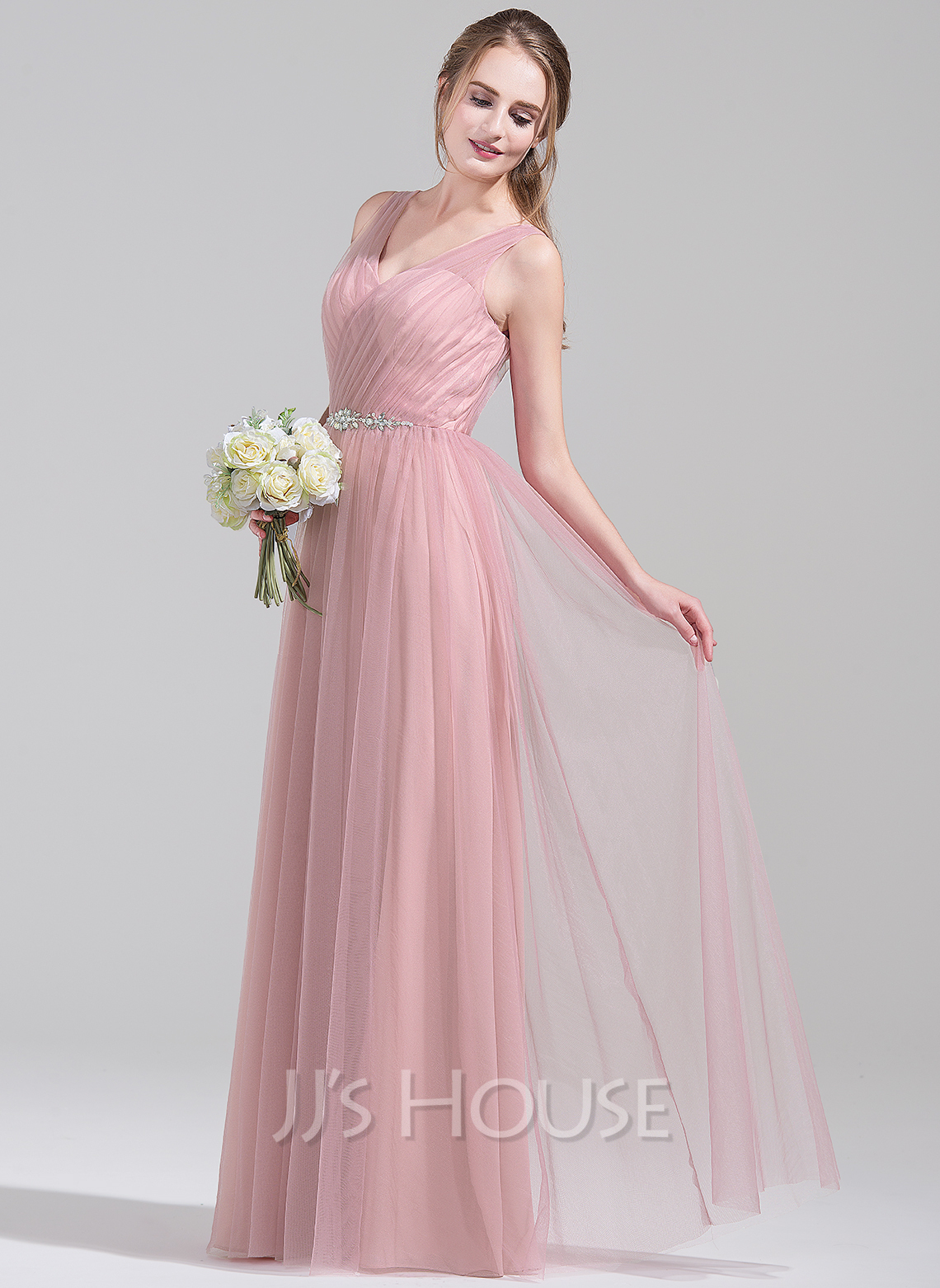 A-Line/Princess V-neck Floor-Length Tulle Bridesmaid Dress With Ruffle Beading Sequins