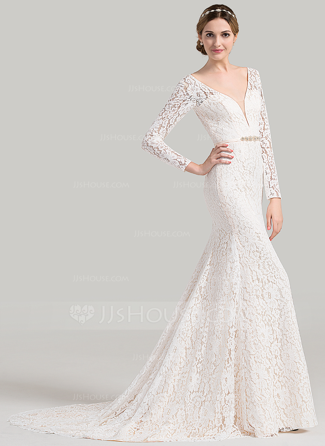 Trumpet mermaid v neck court train lace wedding dress with for V neck wedding dresses australia
