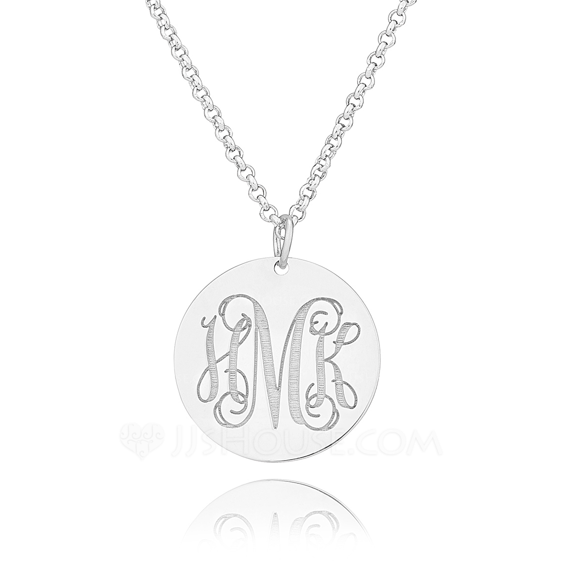 Custom Sterling Silver Monogram Circle Coin Three Engraved Necklace Circle Necklace - Birthday Gifts Mother's Day Gifts