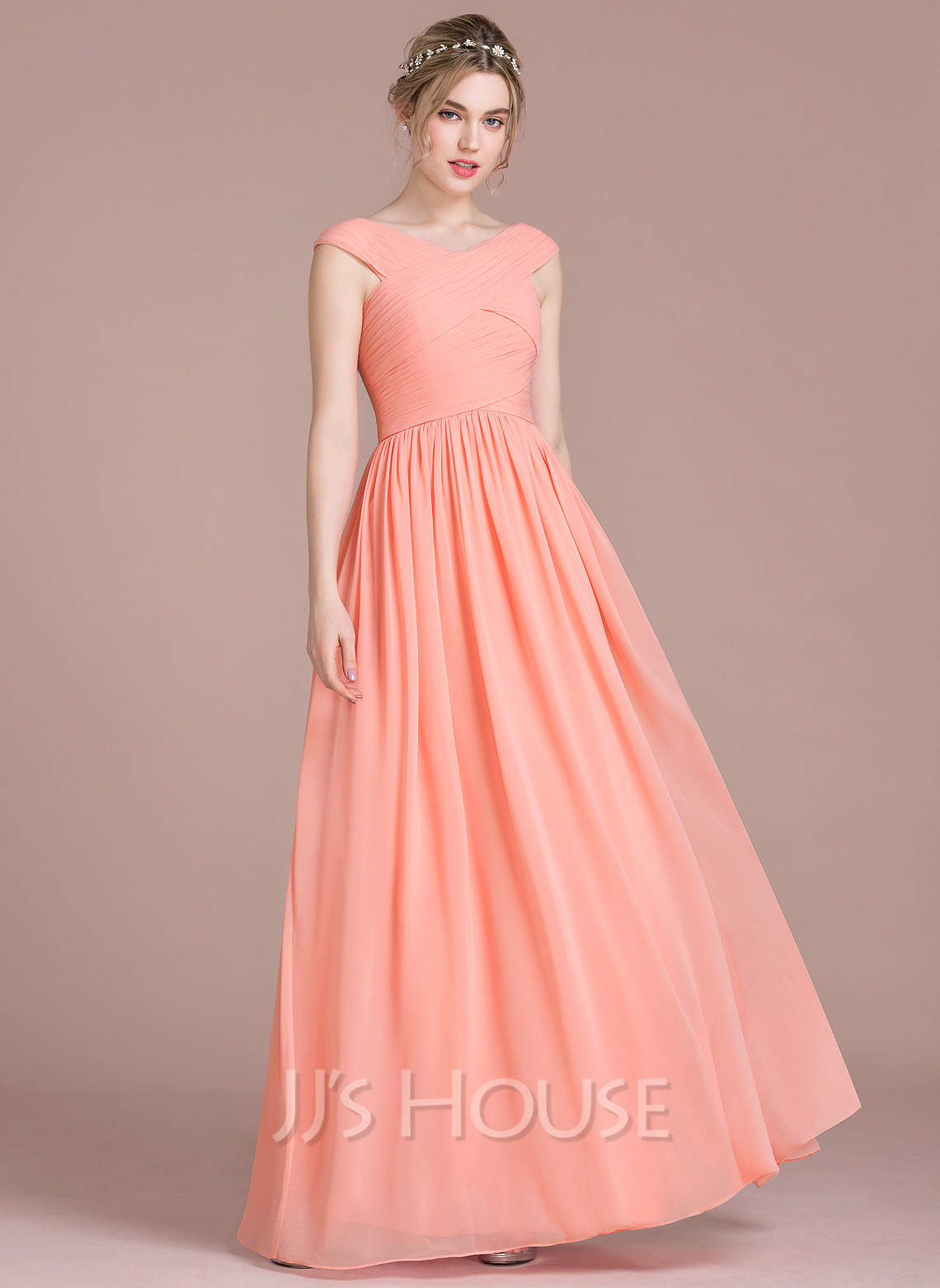 A-Line/Princess V-neck Floor-Length Chiffon Prom Dresses With Ruffle ...