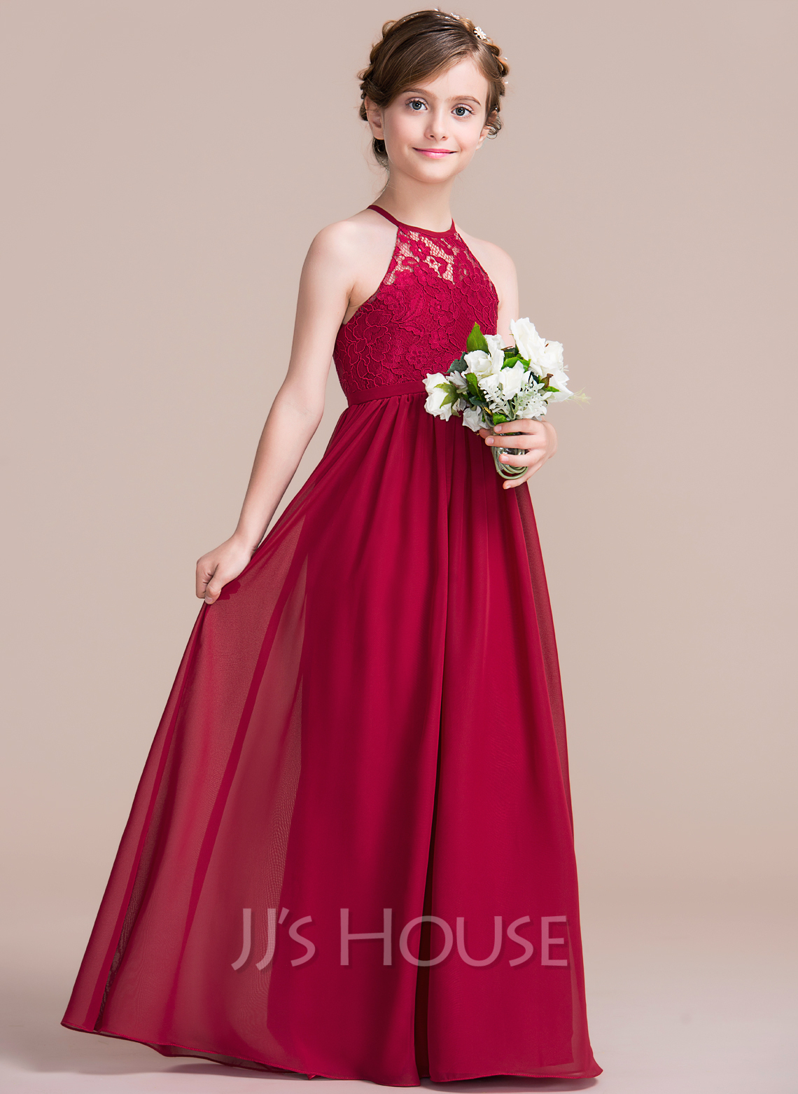 c2e152bcd179 A-Line Princess Scoop Neck Floor-Length Chiffon Junior Bridesmaid ...