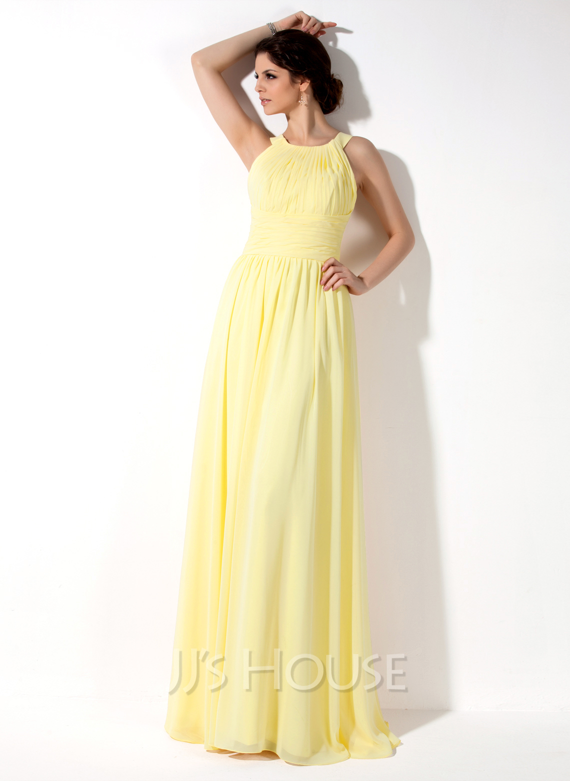 A Line Halter Neck Floor Length Chiffon Bridesmaid Dress Loading Zoom