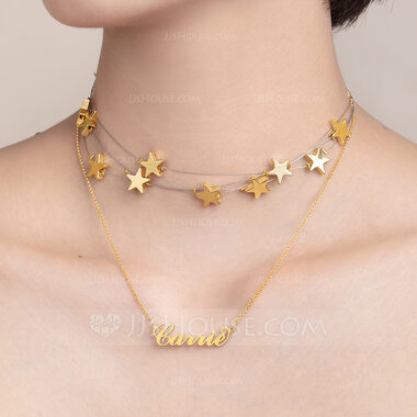 Custom 18k Gold Plated Star Carrie Name Necklace With Star (Set of 2) - Birthday Gifts Mother's Day Gifts