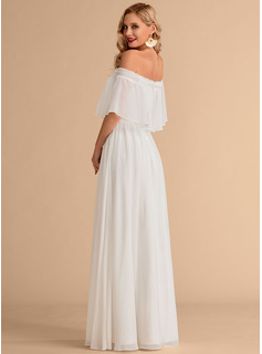 Off-the-Shoulder Floor-Length Chiffon Wedding Dress With Split Front