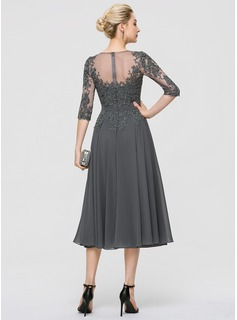Scoop Neck Tea-Length Chiffon Cocktail Dress With Sequins