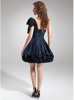 A-Line/Princess One-Shoulder Short/Mini Chiffon Taffeta Cocktail Dress With Ruffle Bow(s)