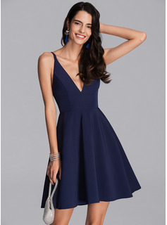 A-Line V-neck Short/Mini Stretch Crepe Homecoming Dress