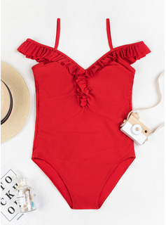 Elegant Solid Color Polyester Spandex One-piece