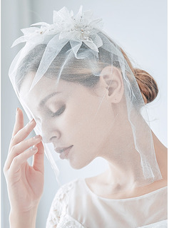 One-tier Cut Edge Birdcage Veils With Beading/Rhinestones